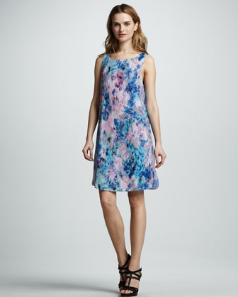 Aurora Floral-Print Silk Shift Dress