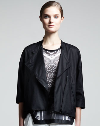 Lacquered Cropped Biker Jacket