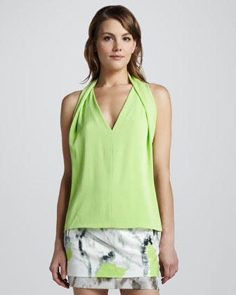 Reagan Draped Sleeveless Top, Melon