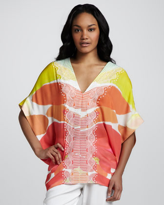 Embellished Printed Caftan Blouse