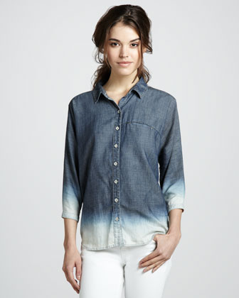 7 For All Mankind Bleached Ombre Chambray
