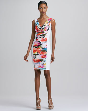 Ruched Floral-Panel Cocktail Dress
