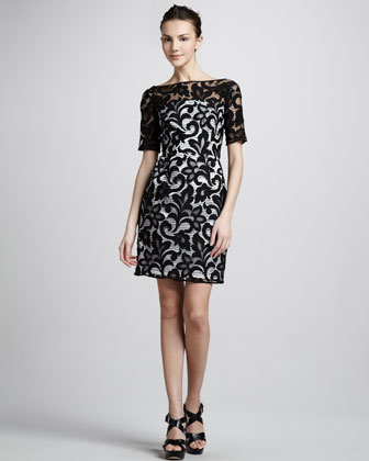 Half-Sleeve Lace Dress