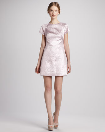 Paneled Metallic Jacquard Dress