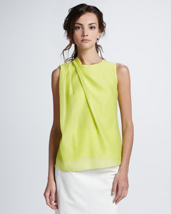 Sleeveless Draped-Shoulder Blouse