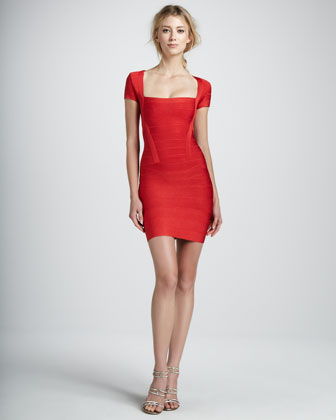 Square-Neck Cap-Sleeve Bandage Dress