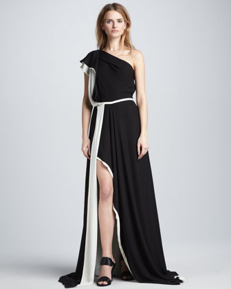 One-Shoulder Colorblock Gown