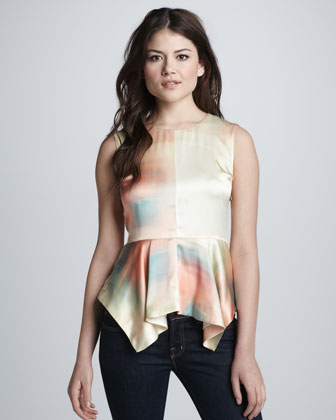 Yumi Watercolor Peplum Top, Sunrise