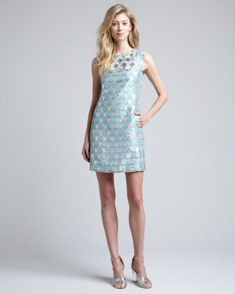Akoni Metallic Jacquard Dress