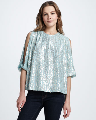 Astor Metallic-Print Silk Top