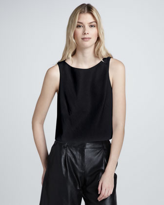 Perforated Leather Crop Top