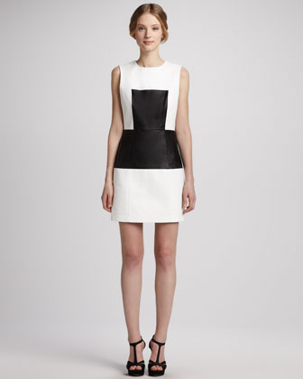 Leather-Panel Sleeveless Dress