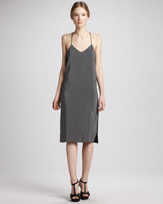 Stripe-Front Silk Halter Dress