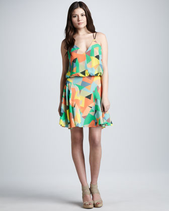 Mosaic-Print Blouson Dress