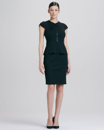 Lanetta Front-Zip Peplum Dress