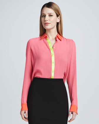 Chelsea Colorblock Silk Blouse