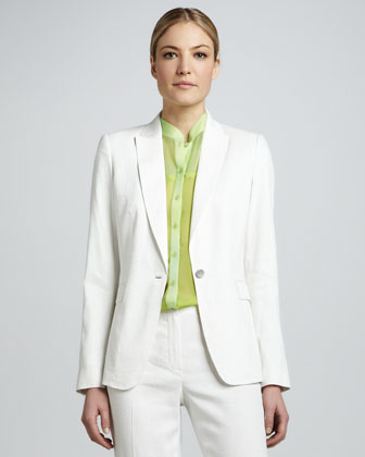 Darcy One-Button Seersucker Suit Jacket