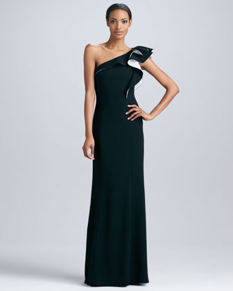 One-Shoulder Ruffle Gown