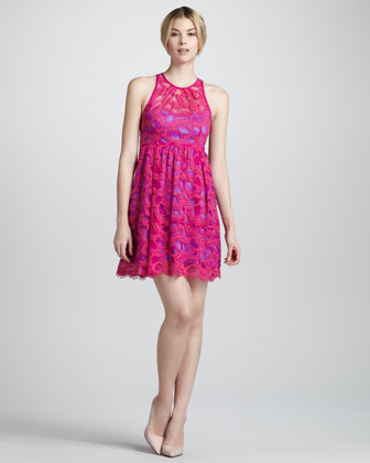 Secret Escapes Lace-Overlay Dress, Magenta