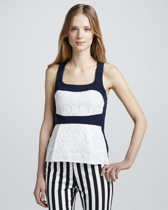 Boat Ride Colorblock Lace Halter Top