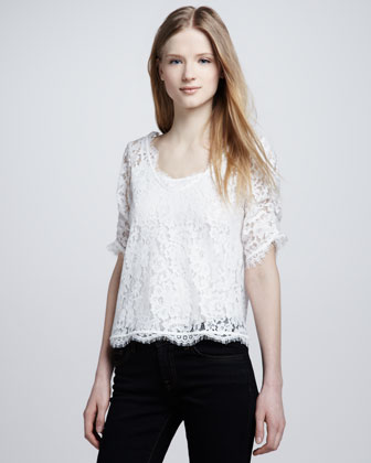 Nevina Scalloped Lace Top
