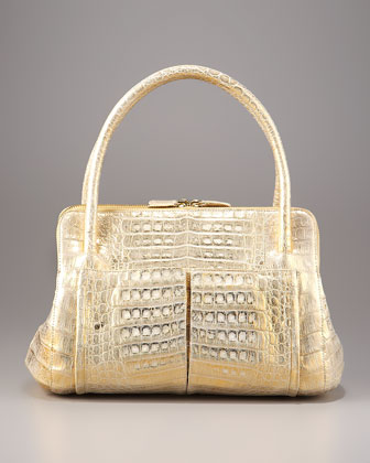 Linda Crocodile Bag, Gold