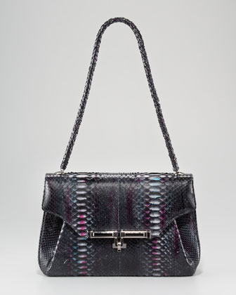 Urbana Python Shoulder Bag, Berry