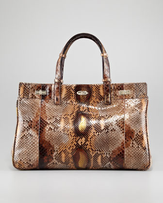 Vault Glossy Python Turn-Lock Satchel Bag