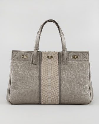 Vault Leather/Python Satchel Bag
