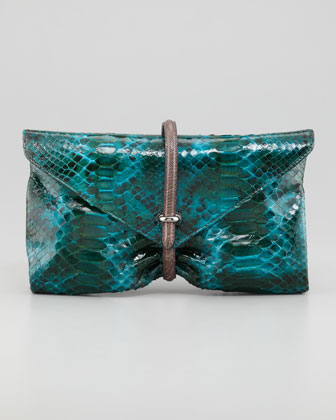 Busta Python Clutch Bag, Peacock