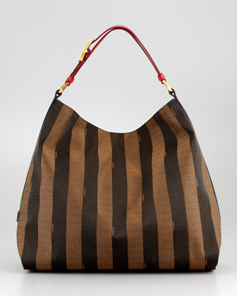 Pequin Hobo Bag, Red/Tobacco/Black