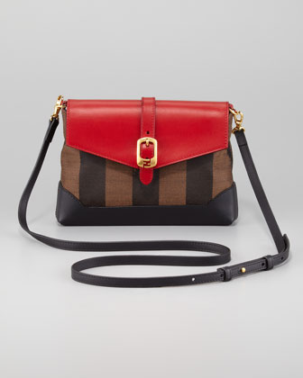 Pequin Pouchette Bag, Tobacco/Red/Black