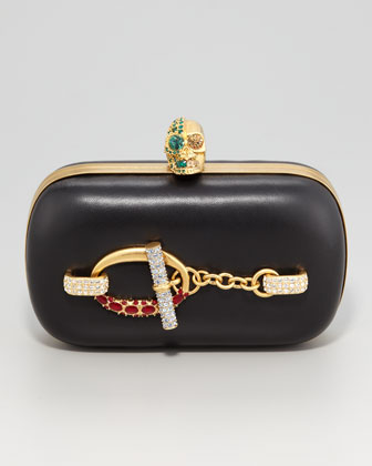 Crystal Toggle Skull-Clasp Clutch Bag