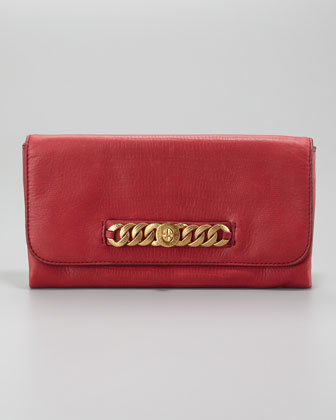Katie Snake-Embossed Bracelet Clutch Bag, Lipstick Red