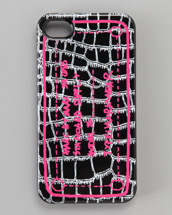 Trompe Croc-Print iPhone 4 Case, Black