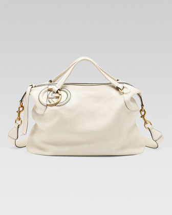 Twill Leather Large Shoulder Bag, White