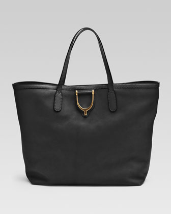 Soft Stirrup Medium Tote Bag, Black