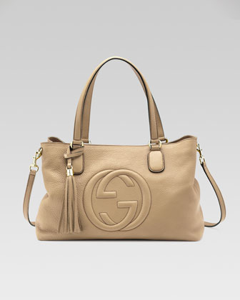 Soho Leather Working Tote Bag, Cream