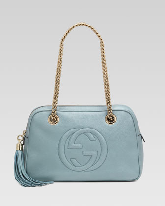 Soho Leather Double-Chain-Strap Shoulder Bag, Splash