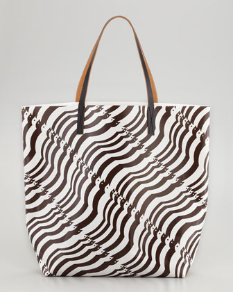 Mixed-Print Dove/Floral Tote Bag