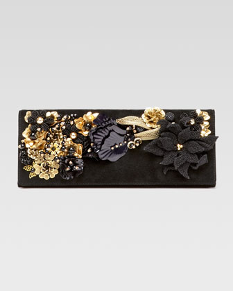 Embroidered Broadway Evening Bag, Black