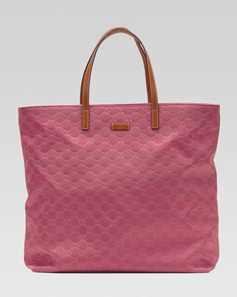 Nylon Guccissima Tote Bag, Vintage Rose