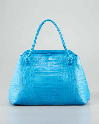 Crocodile Knot-Handle Frame Tote Bag, Light Blue