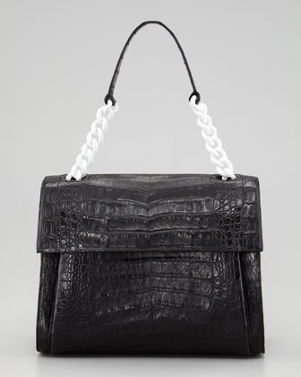 Crocodile Chain Shoulder Bag, Black/White