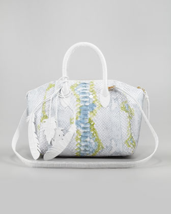 Crocodile/Python Satchel Bag, White/Multicolor
