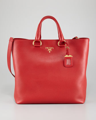 Daino Pebbled Leather Tote Bag, Rosso