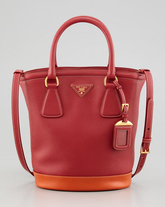 Saffiano Bicolor Bucket Bag, Fuoco/Papaya