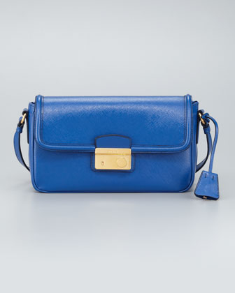 Saffiano Vernice Small Shoulder Bag, Azzurro