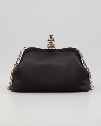 Monkey Satin Shoulder Bag, Black