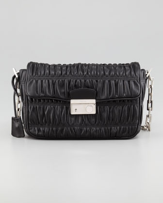 Napa Gaufre Chain Shoulder Bag, Nero